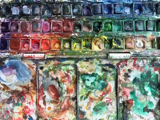 Used Colorful Watercolors Palette Close Up Background