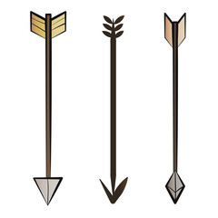 Set of arrows in vintage retro style. Design elements for old school tattoo, background hipster cover, poster. Cartoon vector illustration.