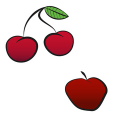 Red cherry and apple in vintage retro style. Design elements for old school tattoo, background hipster cover, poster. Cartoon vector illustration.