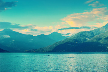 The Alps and Como lake in Italy. Lake landscape.