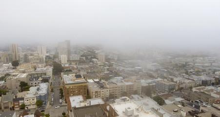 San Francisco aerial skyline shrouded by fog