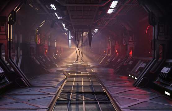 Sci-Fi grunge damaged metallic corridor background illuminated with neon lights 3d render