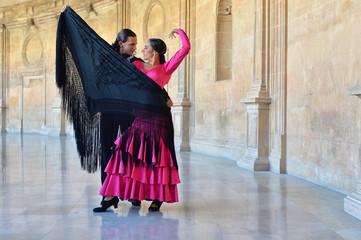 Two professional flamenco dancers in Carlos V Palace, Granada