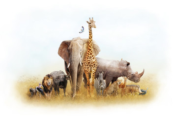 Wall Mural - African Safari Animal Fantasy Land
