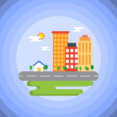 Cityscape in flat style. House and buildings near street and green field on sunny day.