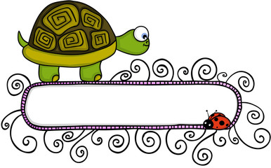 Cute turtle and ladybird with blank banner