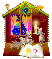 Illustration of little funny mice reading the book at night, vector cartoon image.