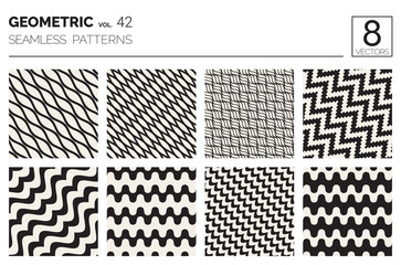 Minimal geometric seamless patterns set