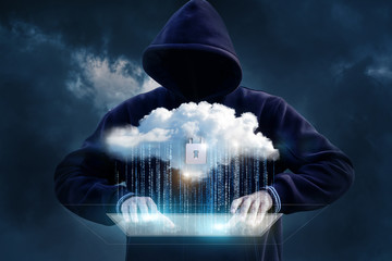 Hacker tries to get into the cloud data transfer.