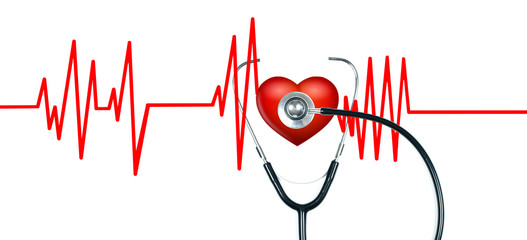 Medical stethoscope and red heart with cardiogram. Health Concepts