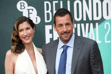 """Actor Adam Sandler and his wife Jackie arrive for the UK premiere of """"The Meyerowitz Stories"""" during the British Film Festival in London"""