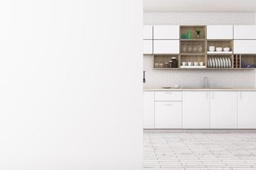 White kitchen with empty banner