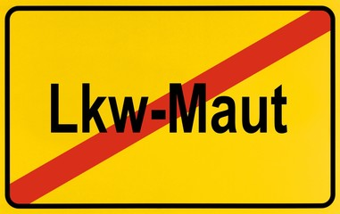 Sign, end of city limits, as symbol for the end of Truck Tolls or Lkw-Maut