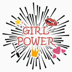 Girl power - feminism slogan with star, lips, heart, mascara, crown. Vector poster at comic explosion background. Print for t-shirt, clothes, card.