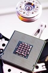 Processor chip on hard disk, hard drive