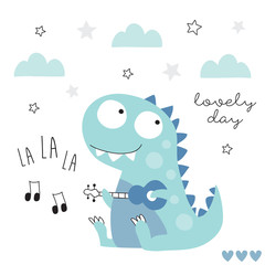 music by dinosaur with guitar vector illustration
