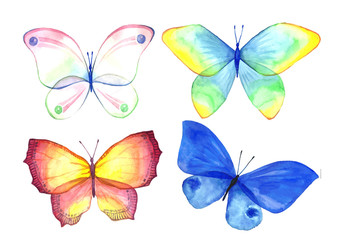 Watercolor collection of colorful butterflies.