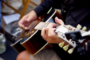 Guitar players hands
