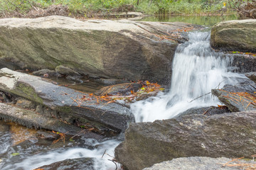 The first cascade of Cheaha Falls in Talladega National Forest in Alabama, USA after a few fall days with no rain