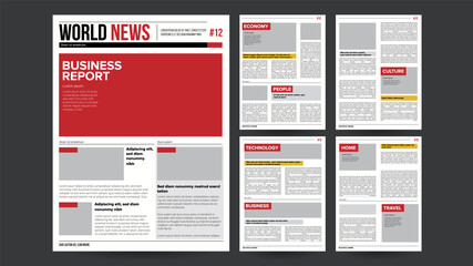 Newspaper Design Blank Vector. Financial Articles, Advertising Business Information. Daily Newspaper Journal Design. Illustration