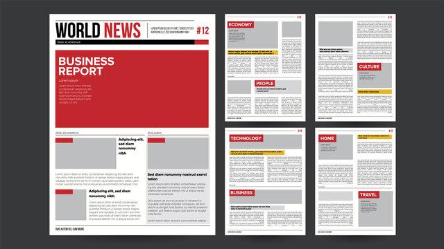 Newspaper Design Blank Vector. Financial Articles, Advertising Business Information. Daily Newspaper Journal Design. Illustration