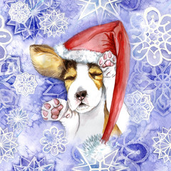 watercolor for Christmas and new year, dog in santa claus hat, winter hat, sleeping puppy, paws, dog lies, asleep, for the design of cards or decor, New Year's print, against the background of snowfl
