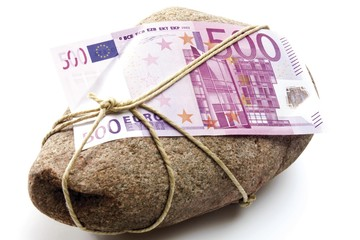 500 Euro bank note tied to a stone