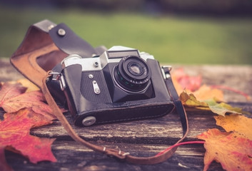 old camera on wooden background surrounded by autumn maple leaves
