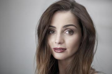 Pretty woman natural face portrait, copy space