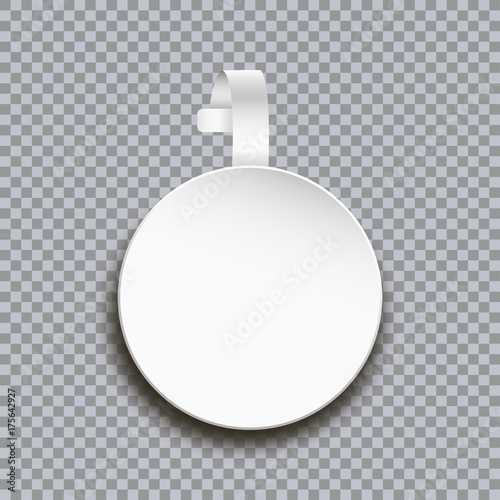 Wobbler Mockup On Transparent Background Blank White Round Paper