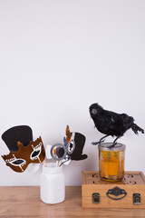 Halloween party prop, decorations. A decorative crow  and photo booth props  in a white ceramic jar. Copy space.