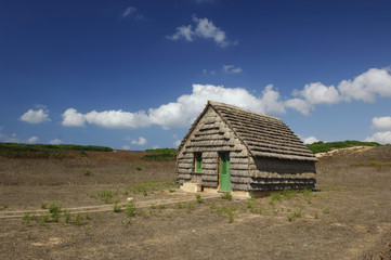 Traditional fisher hut with cattail roof and walls, Sinis, Sardinia, Italy, Europe