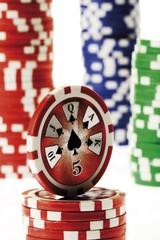Poker chips - 5 of spades