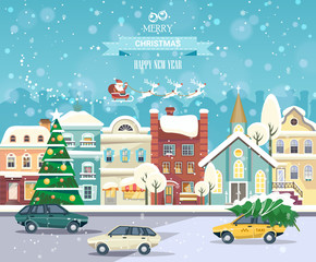 Merry Christmas and Happy New Year vector greeting card in flat style. Christmas winter town with snowflakes. December town poster.