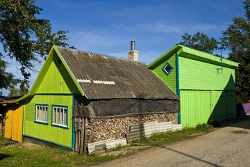 Colourful wooden house, Kasepee, Lake Peipsi, Peipsu jaerv, Estonia, Baltic States, Europe