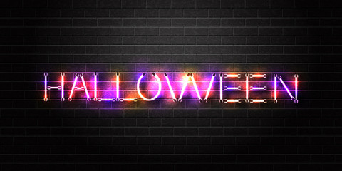 Vector realistic isolated neon sign of Halloween lettering for decoration and covering on the wall background. Concept of Happy Halloween.