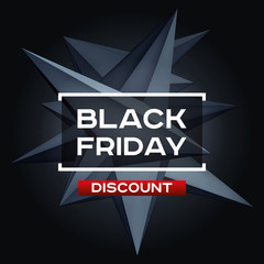 Black Friday Discount. Volume geometric shape, 3d levitation black crystal, creative low polygons dark object. Red accent. Vector design form for you business projects