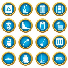 Garbage thing icons blue circle set