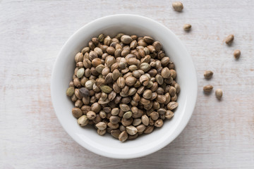 A bowl of hemp seeds