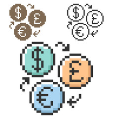 Pixel icon of currency exchange in three variants. Dollar, pounds sterling and euro symbols.  Fully editable