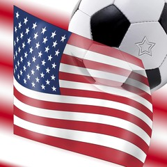 Football with USA flag