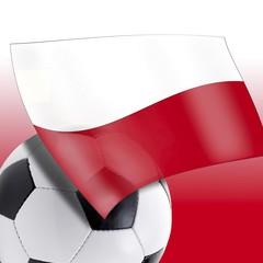 Football with Polish flag