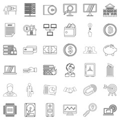 Contract icons set, outline style