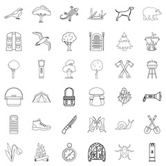 Compass icons set, outline style