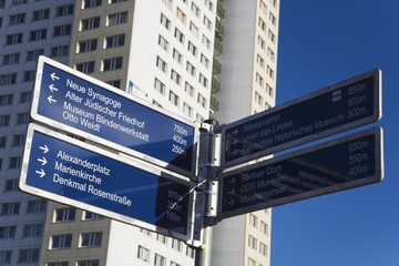 Directional sign indicating the way to various places of interest in Berlin, Germany, Europe