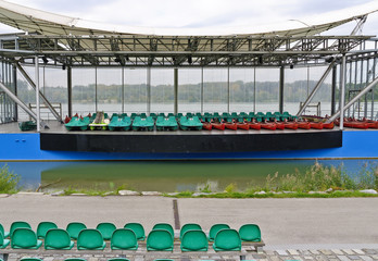 Boats on an open-air stage