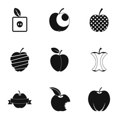 Natural apple icon set, simple style