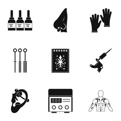 Tattoo salon equipment icon set, simple style