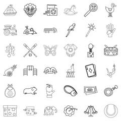 Fun icons set, outline style