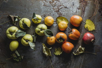 Persimmon, lemon, tangerine, pomegranate and quince